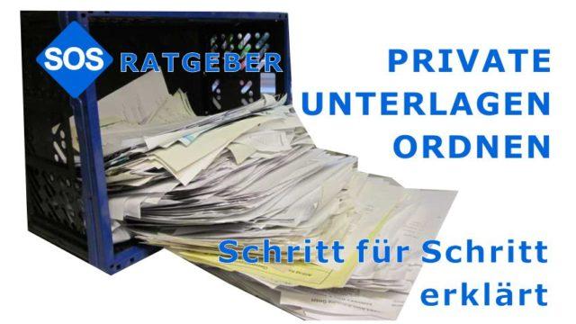 Private Unterlagen ordnen, private Papiere sortieren